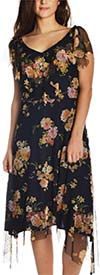 New York Clothing Company 41399 - Short Sleeve Vee Neckline Floral Print Dress With Mesh Trims