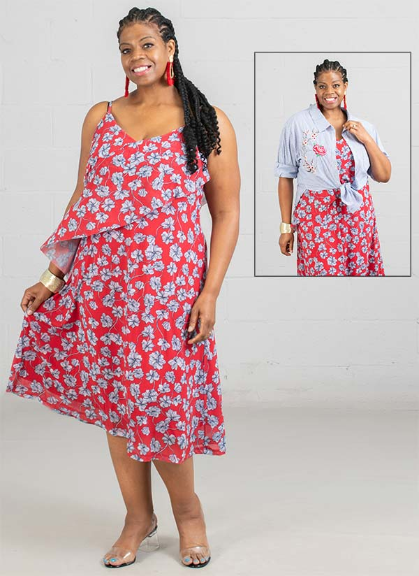 Skye's The Limit 37880 - Floral Print Womens Sleeveless Dress With Asymmetric Layer Feature