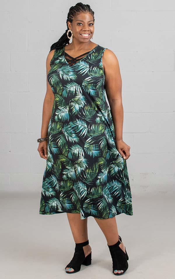 Skye's The Limit 38883 - Ladies Palm Print Dress With Crossed V-Neckline
