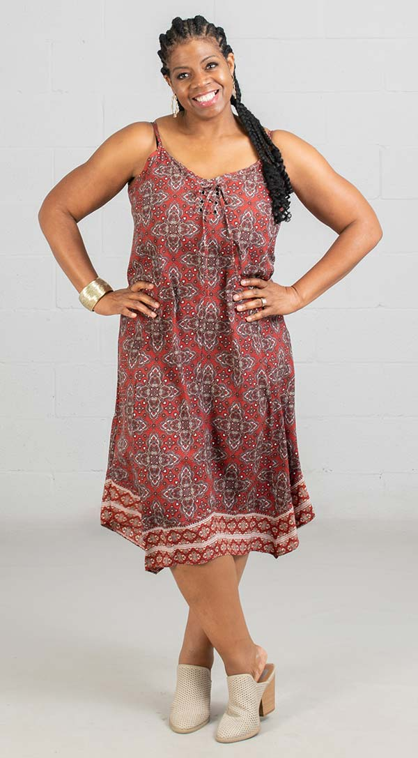 Skye's The Limit 39881 - Ladies Sleeveless Print Dress With Lace-Up Neckline