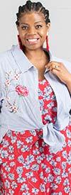 Velzera VLRD416P Womens Floral Embroidery Pinstripe Shirt