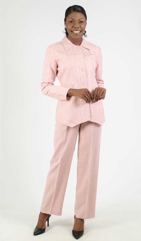 Ann Gerlin 181554 Ladies Two Piece Embroidered Design Linen Pant Suit