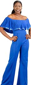 FT Inc RF036 - Womens Off-Shoulder Pleated Neckline Jumpsuit With Front Seam Detail