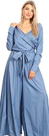 KarenT-1857 - Long Sleeve Surplice Neckline Ladies Jumpsuit With Sash