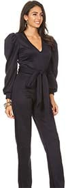 KarenT-2060-Navy - V-Neck Puff Sleeve Jumpsuit With Sash