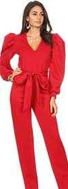KarenT-2060-Red - V-Neck Puff Sleeve Jumpsuit With Sash