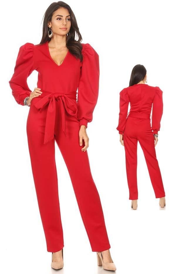 KarenT-2060-Red - V-Neck Puff Sleeve Jumpsuit With Sash