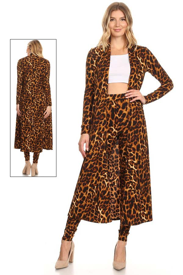 KarenT-5020J-Animal - Ladies Two Piece Pant Set With Long Duster Style Jacket