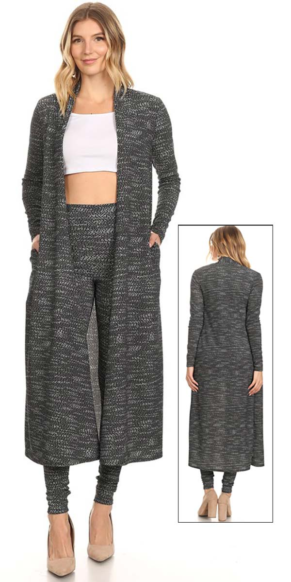 KarenT-5020J-Grey - Ladies Two Piece Pant Set With Long Duster Style Jacket