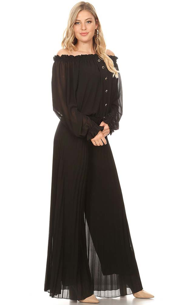 KarenT-7007-Black - Long Sleeve Pleated Chiffon Jumpsuit With Off-Shoulder Design