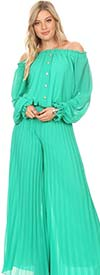 KarenT-7007-Green - Long Sleeve Pleated Chiffon Jumpsuit With Off-Shoulder Design