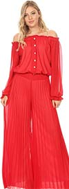 KarenT-7007-Red - Long Sleeve Pleated Chiffon Jumpsuit With Off-Shoulder Design