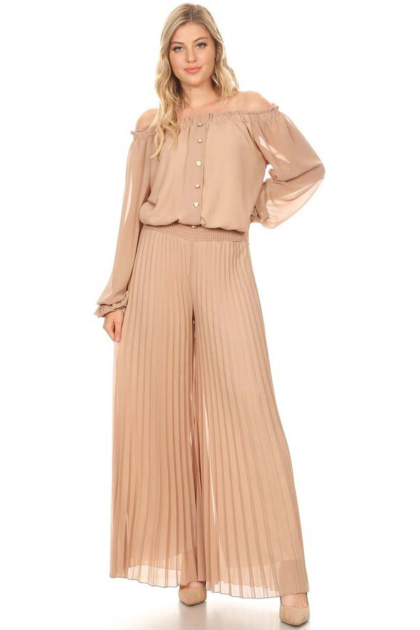 KarenT-7007-Taupe - Long Sleeve Pleated Chiffon Jumpsuit With Off-Shoulder Design