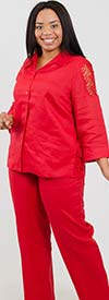 Lino-4583-Red-Womens Linen Pant Suit Designed With Lace Inserts