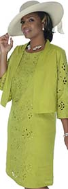 Lino-4703-Kiwi-Ladies Linen Jacket & Dress Suit With Cut-Out Design