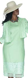 Lino-4723-Womens Linen Jacket & Dress Set With Punch-Out Design
