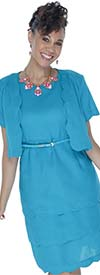Lino-4728-Turquoise-Scalloped Trim Design Two Piece Linen Jacket And Dress Set With Belt