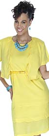 Lino-4728-Yellow-Scalloped Trim Design Two Piece Linen Jacket And Dress Set With Belt