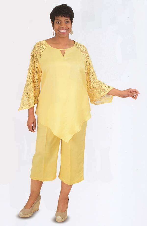 Lino-4832-Banana-Linen Capri Pant Set With Lacy Sleeves And Keyhole Neckline