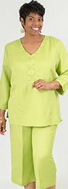Lino-4833-Green - Linen Capri Pant Suit With Laced Grommet Trim Detail