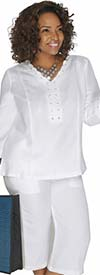 Lino-4833-White - Linen Capri Pant Suit With Laced Grommet Trim Detail