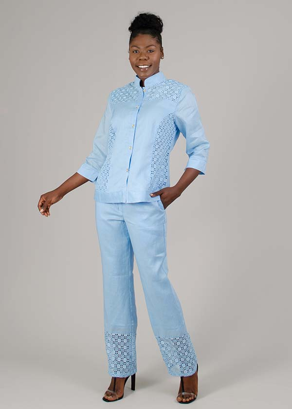 Lino-NC4825-Blue - Nehru Collar Womens Linen Pant Suit With Cut-Out Pattern Details