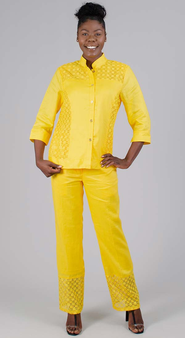 Lino-NC4825-Yellow - Nehru Collar Womens Linen Pant Suit With Cut-Out Pattern Details