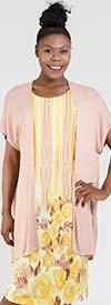 Maya-Brooke-24914 Light Jacket And Floral Stripe Print Dress Set