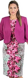 Maya-Brooke-27703-Berry Two Piece Floral Animal Print Dress With Bolero Style Jacket
