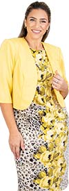 Maya-Brooke-27703-YellowMulti Two Piece Floral Animal Print Dress With Bolero Style Jacket