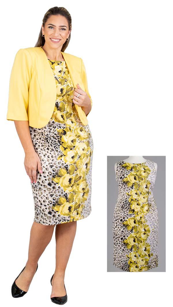Maya-Brooke-27703-YellowMulti Two Piece Floral Animal Print Dress With Bolero Style Jacket
