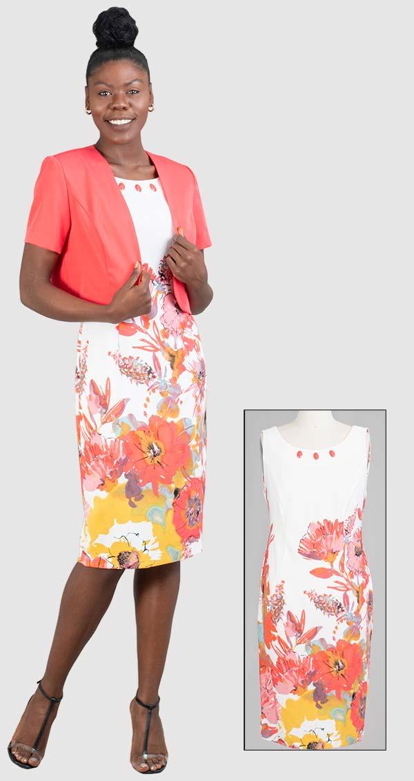 Maya-Brooke-28516-CoralWhite-Two Piece Solid Jacket & Floral Print Dress