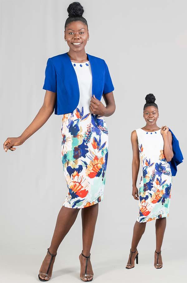 Maya-Brooke-28516-RoyalWhite-Two Piece Solid Jacket & Floral Print Dress