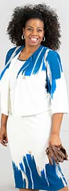 Maya-Brooke-29043 Half Sleeve Jacket And Sleeveless Dress Set With Abstract Print
