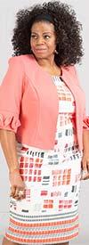 Maya-Brooke-29419-Ruffle Accented Sleeve Jacket And Dress Set With Abstract Print