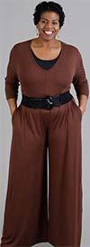 NF CHH18027-Brown - Vee Neckline Three-Quarter Sleeve Ladies Jumpsuit With Pockets