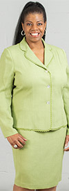 Rafael-90507-Lime - Womens Two Piece Skirt Suit With Scallop Trim Jacket