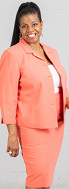 Rafael-90621-Coral - Womens Two Piece Skirt Suit With Notch Lapel Jacket
