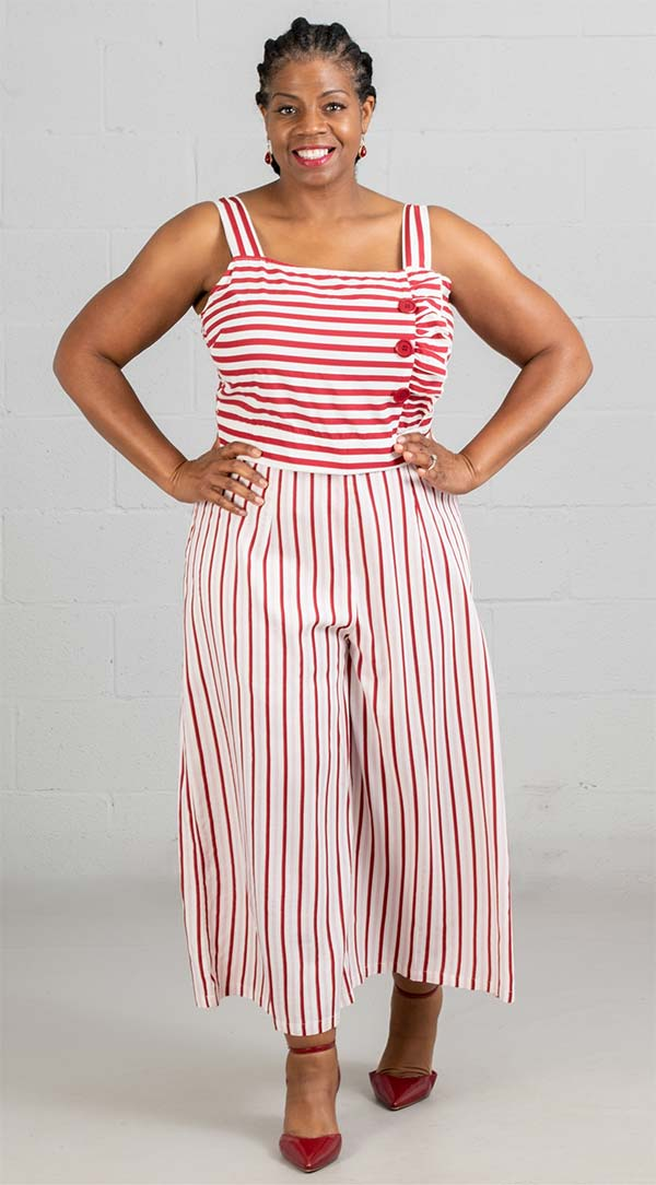 True Destiny 6701JSX Womens Stripe Print Strap Top Jumpsuit