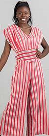 True Destiny 6757JS Womens Stripe Print Vee Neckline Jumpsuit With Smocked Inset