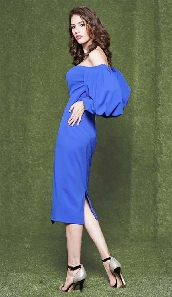 Why Dress-D181092-Royal - Ladies Balloon Sleeve Dress With Open-Shoulder Neckline
