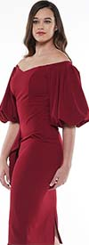 Why Dress-D181092-Wine - Ladies Balloon Sleeve Dress With Open-Shoulder Neckline