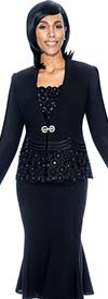Susanna 3692-Black - Flared Skirt Suit With Spherical Pattern Design Jacket