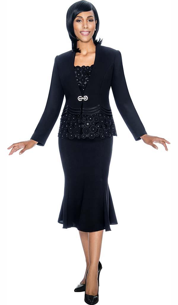 Susanna 3692-Black - Flared Skirt Suit With Spherical Pattern Design Jacket