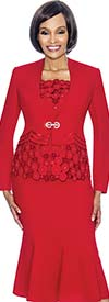 Susanna 3692-Red - Flared Skirt Suit With Spherical Pattern Design Jacket