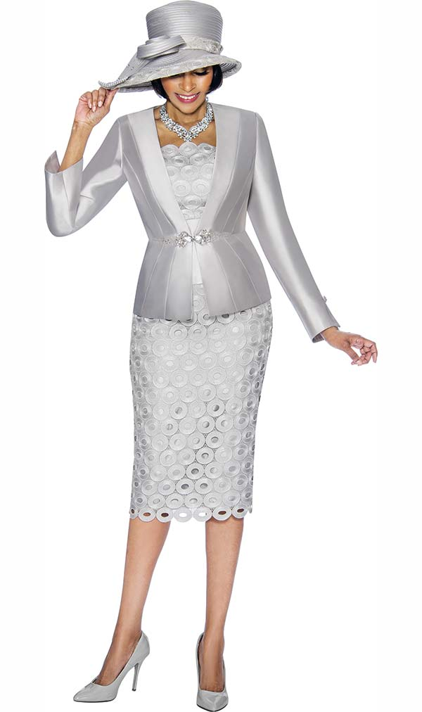 Susanna 3793 - Circle Pattern Skirt Suit With Solid Jacket
