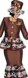 Susanna 3841 - Floral Pattern Flounce Skirt Suit With Peplum Jacket