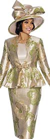 Susanna 3845-Green - Floral Pattern Skirt Suit With Peplum Jacket