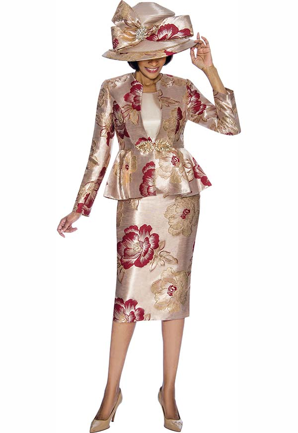 Susanna 3845-Burgundy - Floral Pattern Skirt Suit With Peplum Jacket
