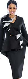 Susanna 3847 - Womens Skirt Set With Ruffle Design Peplum Jacket